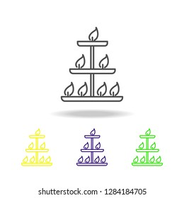 deepam Diwali festival lamps colored icons on white background. Diwali Hindu festival Indian Holidays elements for graphic and web design  on white background