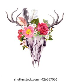 Deer animal skull with flowers and feathers. Watercolor in vintage style