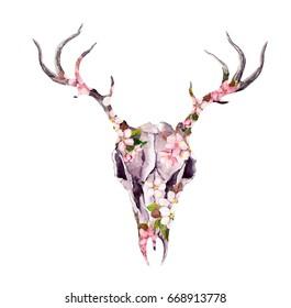 Deer animal skull in flowers. Watercolor