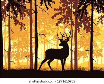 Deer with antlers posing, forest background, silhouettes of trees. Magical misty landscape. Brown, orange and yellow illustration.