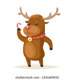Deer Character Christmas and New Year Isolated Icon Cartoon Design  Illustration