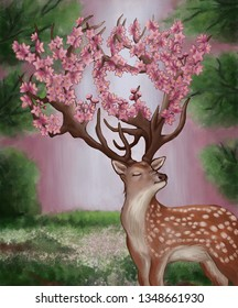 The deer with the cherry blossoms on the horns