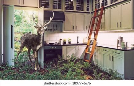 Hirsch kommt in die Küche. 3D-Illustration