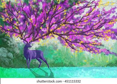 The Deer Emperor Fantastic Version. Watercolor Style Digital Artwork 23