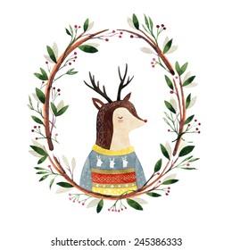 deer in a floral frame - watercolor illustration. Hipster animal