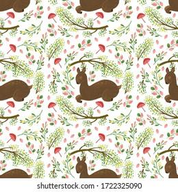 deer forest seamless cute pattern