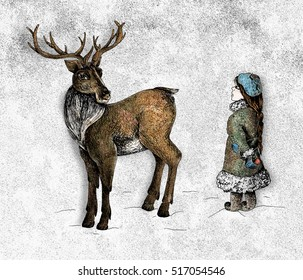 Deer and a girl colourful mixed media illustration in grunge style