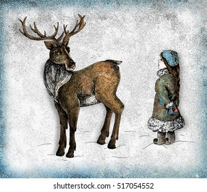 Deer and a girl colourful mixed media illustration in grunge style with frame