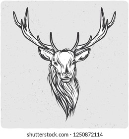 Deer head. Black and white illustration. Isolated on light backgrond with grunge noise and frame. Raster copy.