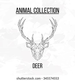 Deer head geometric lines silhouette isolated on white background vintage design element picture
