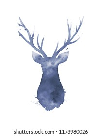 Deer head. Watercolour abstration on white.
