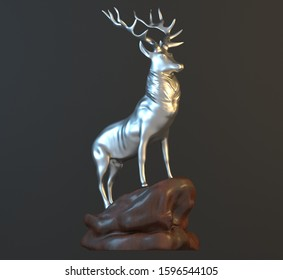 DEER  isolated on grey background. 3d rendering