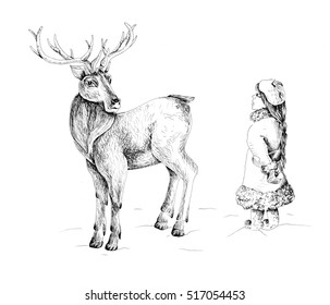 Deer and a little girl ink drawing