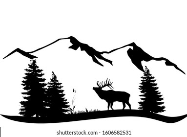 Deer and mountain silhouette design