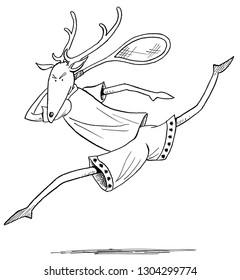deer playing tennis
