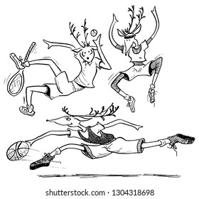 Deer playing three sports