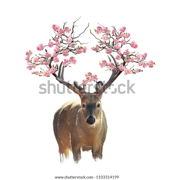 Deer portrait with flowering branches on the horns.Watercolor isolated on white background