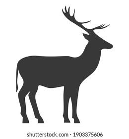 Deer silhouette, icon. Raster illustration on a white background.