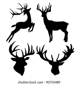 photograph about Deer Silhouette Printable named Deer Intellect Silhouette Photos, Inventory Photographs Vectors