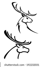 Deer silhouettes in monochrome style for tattoo or hunting logo design. Vector version also available in gallery
