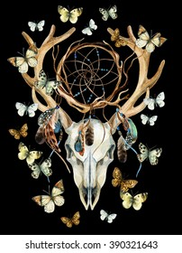 Deer skull. Animal skull with dream cather and butterfly. Deer skull and ethnic dreamcatcher with feathers and butterfly isolated on black background. Watercolor hand painted illustration.