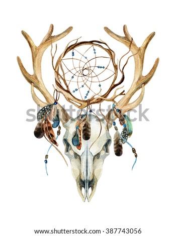 Deer Skull Animal Skull Dream Cather Stockillustration 40 Classy Animal Dream Catchers