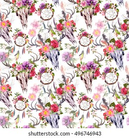 Deer skulls with flowers and dream catchers (dreamcatcher). Seamless pattern. Watercolor