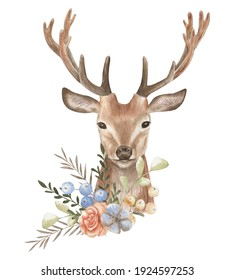 Deer watercolor illustration. Flower composition. Postcard forest animals. Invitation and greeting, prints and textiles.