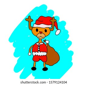 Deer wear santa outfit hold the big bag for chirstmas day