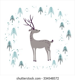 Deer in winter pine forest isolated on white. Hand drawn design for Christmas and New Year greeting cards, fabric, wrapping paper, invitation, stationery.