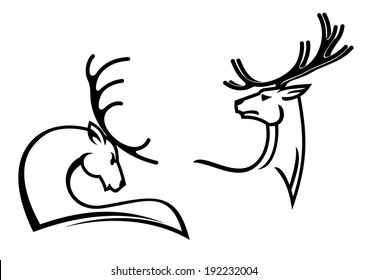 Deers with big antlers for tattoo, mascot or hunting logo symbols design. Vector version also available in gallery