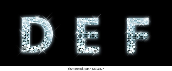 D,E,F - font made from a disco ball