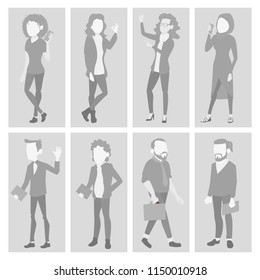 Default Placeholder Avatar Set. Profile Gray Picture. Full Length Portrait. Male, Female Face Photo. Businessman, Business Woman. Human Photo. Silhouette. Isolated Illustration