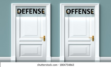 Defense and offense as a choice - pictured as words Defense, offense on doors to show that Defense and offense are opposite options while making decision, 3d illustration