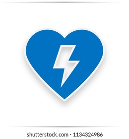 Defibrillator icon blue. Aed sign with heart and electricity symbol flat  icon