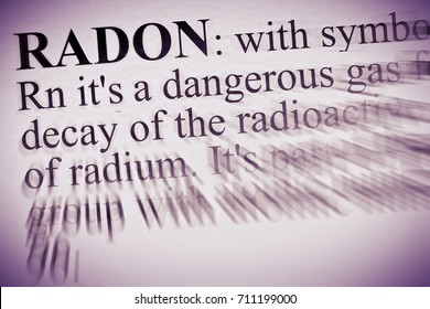 Definition of radon gas -   concept image with copy space
