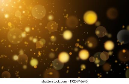 Defocused Yellow Lights Over Dark Background