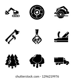 Deforestation icons set. Simple set of 9 deforestation icons for web isolated on white background