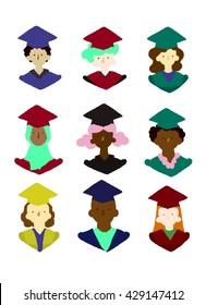 Degree students in hats, people of color and white, isolated. 9 digital flat icons.