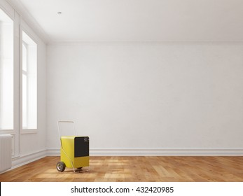 Dehumidifier in room of a building to dry the walls (3D Rendering)