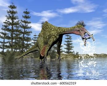 Deinocheirus dinosaur fishing - 3D render