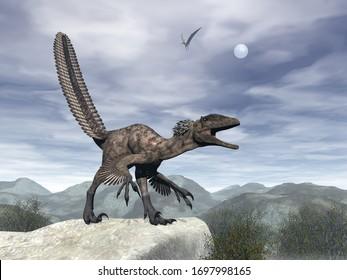 Deinonychus dinosaur roaring head up on a rock -3D render