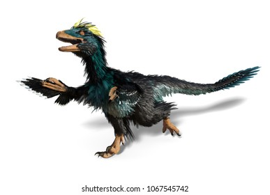 The Deinonychus was a feathered dinosaur that lived during Cretaceous period - 3D render.