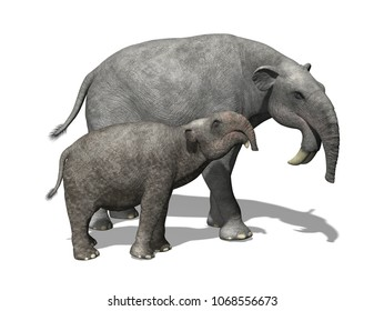 The Deinotherium was an extinct mammal that lived during the Miocene era and is related to the modern elephant - 3d render.