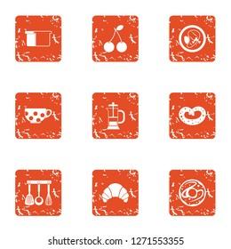 Dejeuner nourishment icons set. Grunge set of 9 dejeuner nourishment icons for web isolated on white background