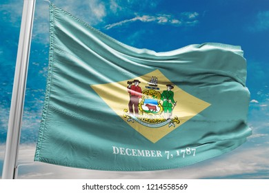 Delaware Flag Waving, United States of America, Blue Sky, 3D Ill