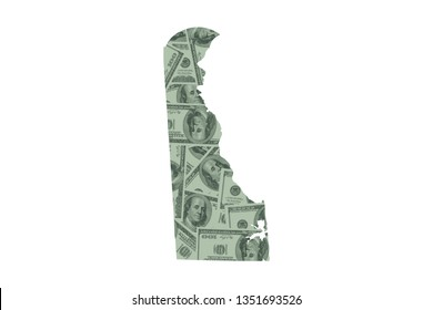 Delaware State Map and Money Concept, Hundred Dollar Bills