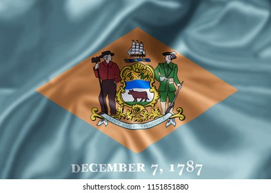 Delaware waving and closeup flag illustration. Perfect for background or texture purposes.