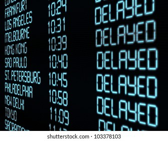 Delay - Closeup of Departure Timetable on Airport - Illustration