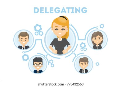 Delegating business illustration. Idea of business oragnization and communication. Woman leader.